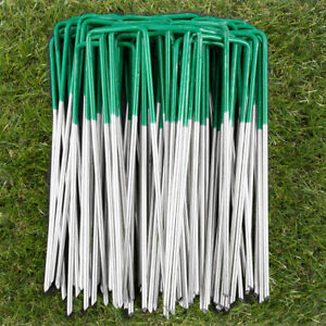 Green U Shape Pins For Artificial Grass Turf Galvanised Tent Ground Pegs