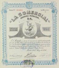 """MEXICO P/27 Compañía Petrolera """"LA COMERCIAL"""" S.A. 100 acciones, de 1916"""