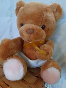 Vintage Russ Berrie Bibi Baby Bear  with Diaper Pacifier Plush Stuffed Animal