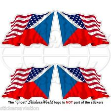USA United States America-CZECH REPUBLIC & American Flying Flag 50mm Stickers x4