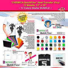 "CHEMICA QUICKFLEX HEAT TRANSFER VINYL,12 SHEETS,12""x15"",12 COLORS STARTER BUNDLE"