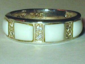 Vintage ROX Sterling Silver White Stone Inlay Topaz Wedding Band Ring 5g Sz 8.5