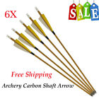 Archery Hunting Carbon Arrow 500 Spine Feather Fletched for Compound Recurve Bow