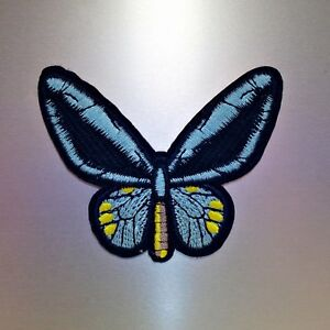 Blue Butterfly Patch — Iron On Badge Embroidered Motif — Butter Fly Animal Cute