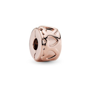 NEW Genuine Pandora Rose Clip 781978 Row of Hearts Fixed Bead Rose Plated 925