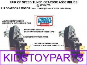 PAIR SPEED MODIFIED 12v  21T GEARBOX & MOTORS POWER WHEELS READ!