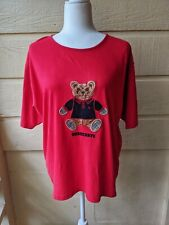 BURBERRY Vintage Red Teddy Bear Tee Shirt Large 100% Cotton