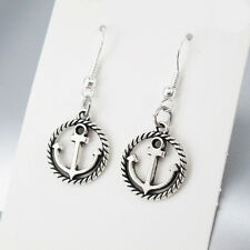 Vintage Silver Alloy Round Sailor Boat Anchor Earrings 925 Sterling Silver Hooks