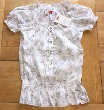 Ladies white printed floral ESPRIT gathered waist cotton shirt, Small, size 8/10