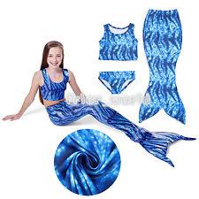 Kids Girl Swimmable Mermaid Tail Bikini Sets Swimwear Monofin Swim suit Costume