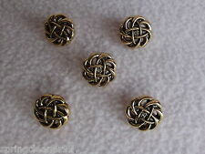 5 x GOLD COLOURED CELTIC KNOT BUTTONS size 24L (approx 15mm) FASHION/CRAFT