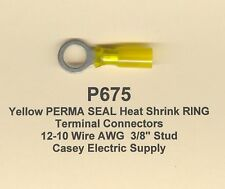 """10 Yellow PERMA SEAL Heat Shrink RING Terminal Connectors #12-10 Wire 3/8"""" MOLEX"""
