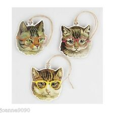 SET OF 9 CAT WITH GLASSES QUIRKY CHRISTMAS PRESENT WRAPPING GIFT TAG CATS TAGS