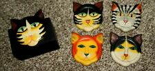 Wilson Tiger Lily Wooden Carved Cat Set 4 Coasters Hand Painted Folk Art