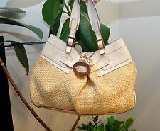 Stunning ANYA HINDMARCH Tote Shoulder Handbag Bag Straw Leather Ivory MSRP $650