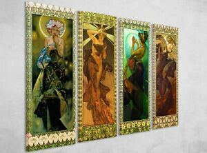 Alphonse Mucha The Stars and the Moon 4 x Framed Canvas Wall Art Picture Prints