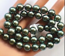 """HUGE18""""11-12MM NATURAL TAHITIAN GENUINE BLACK PEACOCK BLUE ROUND PEARL NECKLACE"""