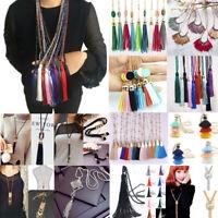 Elegant Women' Crystal Beaded Necklace Long Tassel Pendant Sweater Chain Jewelry