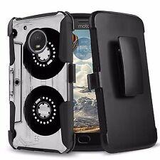 For MOTO E4 Hybrid Rugged ARMOR CLIP Protector Old Cassette Tape Image