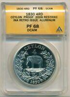 Ceylon 1830-Dated 4 Rixdollar 2008 Retro/Restrike PF68 DCAM ANACS Low Mintage