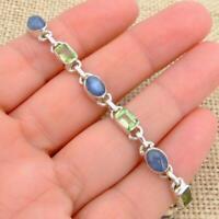 Peridot & Kyanite 925 Sterling Silver Bracelet Indian Jewellery