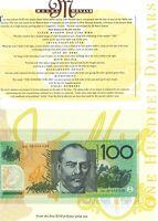 Australian 1996 1st Prefix $100 Folder AA96 005636 Fraser Evans issue + Pamphlet