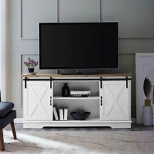"Manor Park Barn Door TV Stand for TVs up to 65"", White/Reclaimed Barnwood"
