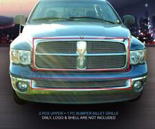 For 2002-2005 Dodge Ram Upper Bumper Billet Grille Grill Combo 3 Pcs