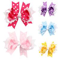 AU_ KQ_ KE_ KF_ EB_ Fashion Lovely Girls Polka Dot Duckbill Clip Bowknot Hair Cl