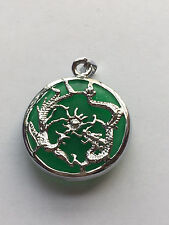 New Green Jade Silvered Dragon Phoenix Pendant and Necklace
