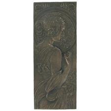 Bronze Mackintosh Art Deco Wall Plaque Nouveau Erotic Lady Naked H24.5cm 01311