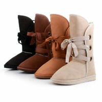 Women Lace Up Winter Snow Boots Solid Casual Warm Suede Fur Mid-calf Flat Shoes