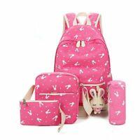 4PCS Women Girls Canvas Backpack Travel Rucksacks School Satchel Shoulder Bag