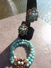 Signed ART Shades of Teal/Aqua Beaded Bracelet  & Clip Earring Set Rhinestones