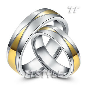 TT Two-Tone 14K GP S.Steel Wedding Band Ring Couple Mens & Womens Size6-14 R206