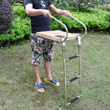 Stainless Steel Rails Teak Inboard Boat Swim Platform 3 Steps Ladder Brilliant