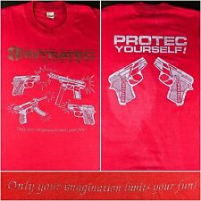 """True Vintage 80s Intreated Firearms """"Protec Yourself"""" Guns Pistols Red T-Shirt"""