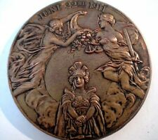 King George V with Queen Mary June 1911 Bronze Coronation Medal / 64 mm / N131