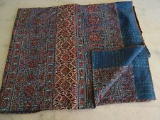 Blue Red Ajrakh Traditional Kantha Quilt Twin Size Hand Stitch Kantha Ajrakh