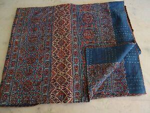 Blue Red Ajrakh Traditional Kantha Quilt Twin Size Hand Stitch Kantha Ajrakh
