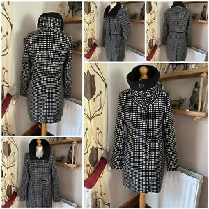 Stunning vila clothes junilia winter coat high neck polka dot design button S