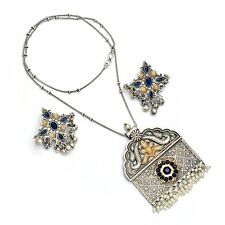 Indian Traditional Necklace Set With Earrings Blue Color Silver Festive Jewelry