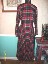 AMAZING VINTAGE 1990'S RALPH LAUREN PLAID RAYON HUGE SWEEP SKIRT DRESS M 8