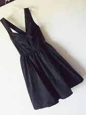 NWT CALVIN KLEIN 10 BLACK TAFFETA COCKTAIL DRESS Party Cross Back Fit n Flare