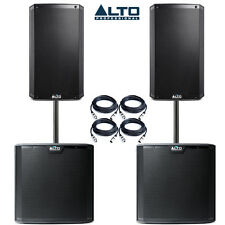 Alto 2 x TS212 Speakers & 2 x TS212S Subwoofers Package Bundle inc Leads & Poles