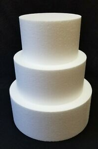 "3 pc set ROUND CAKE DUMMY 4"" Thick 6"" 8"" 10"" EPS Foam Wedding Styrofoam Fake"