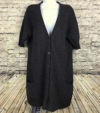 Eileen Fisher Womens M Brown Wool Angora Cashmere Long Duster Cardigan Sweater