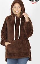 Fleece Pullover Tunic Length with Kangaroo Pouch - Brown