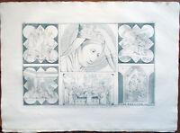 ✅Stampa incisione 1850-Madonna e sacre di Giotto in Santa Croce Firenze-Tav.CXIV