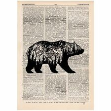 Mountain Bear Dictionary Print OOAK, Mystic, Art, Unique, Gift,